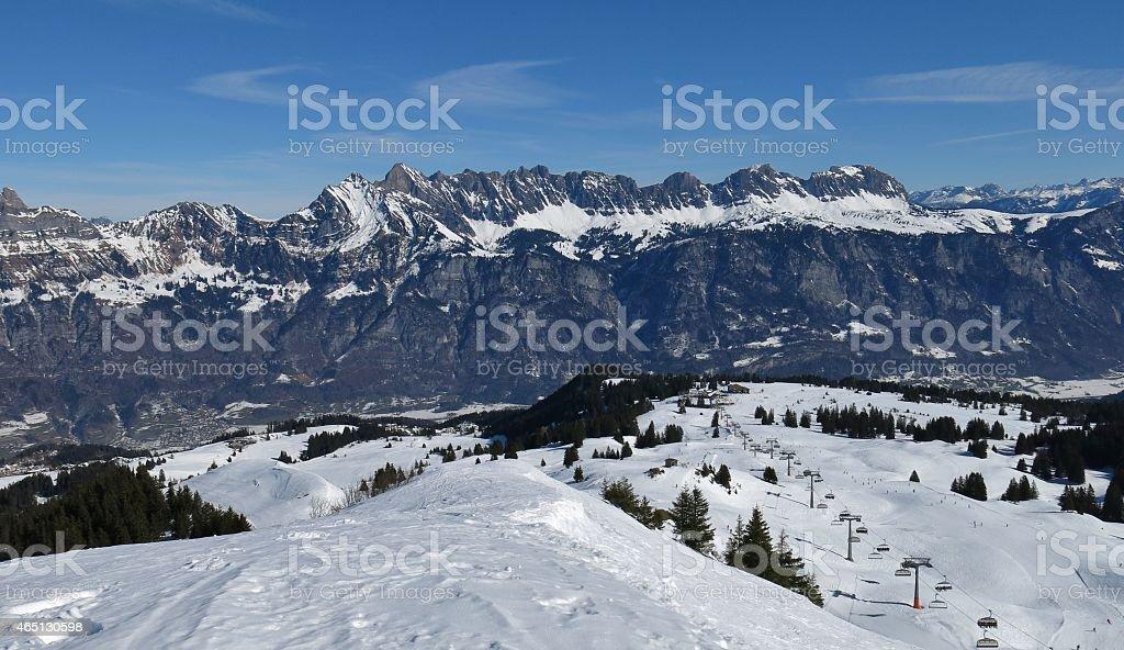Ski area Flumserberg and Churfirsten stock photo