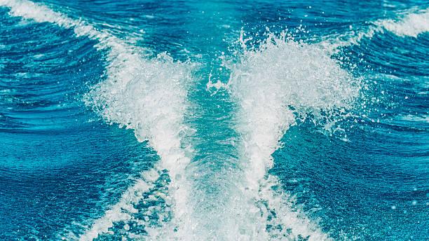 Ski Boat Water Wake stock photo