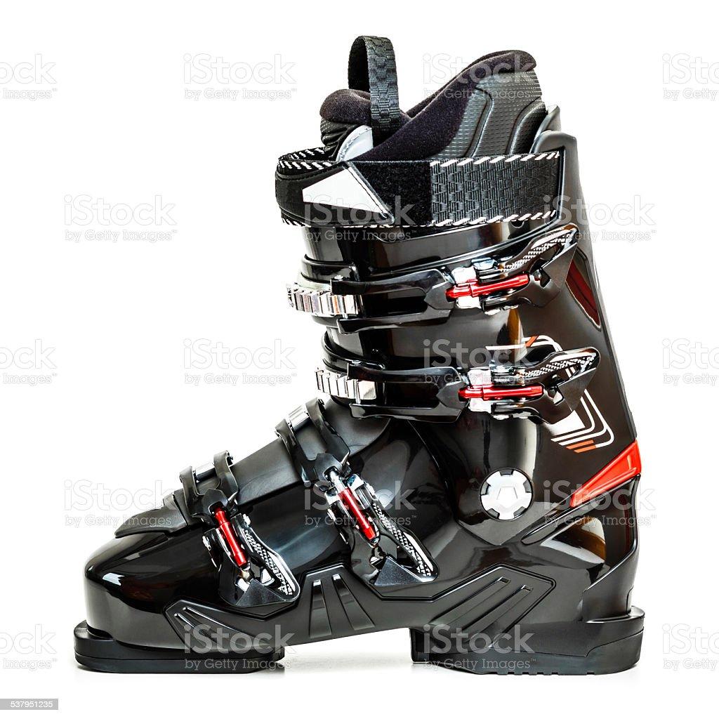Ski boot, isolated on white background stock photo