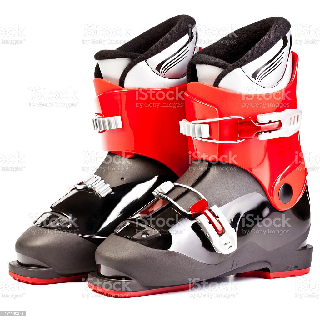 Ski boots for juniors, isolated on white background stock photo