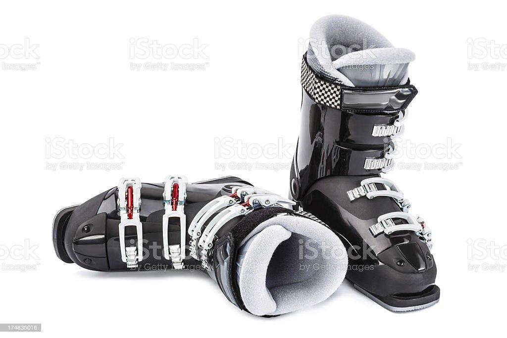 Ski boots, isolated on white background royalty-free stock photo