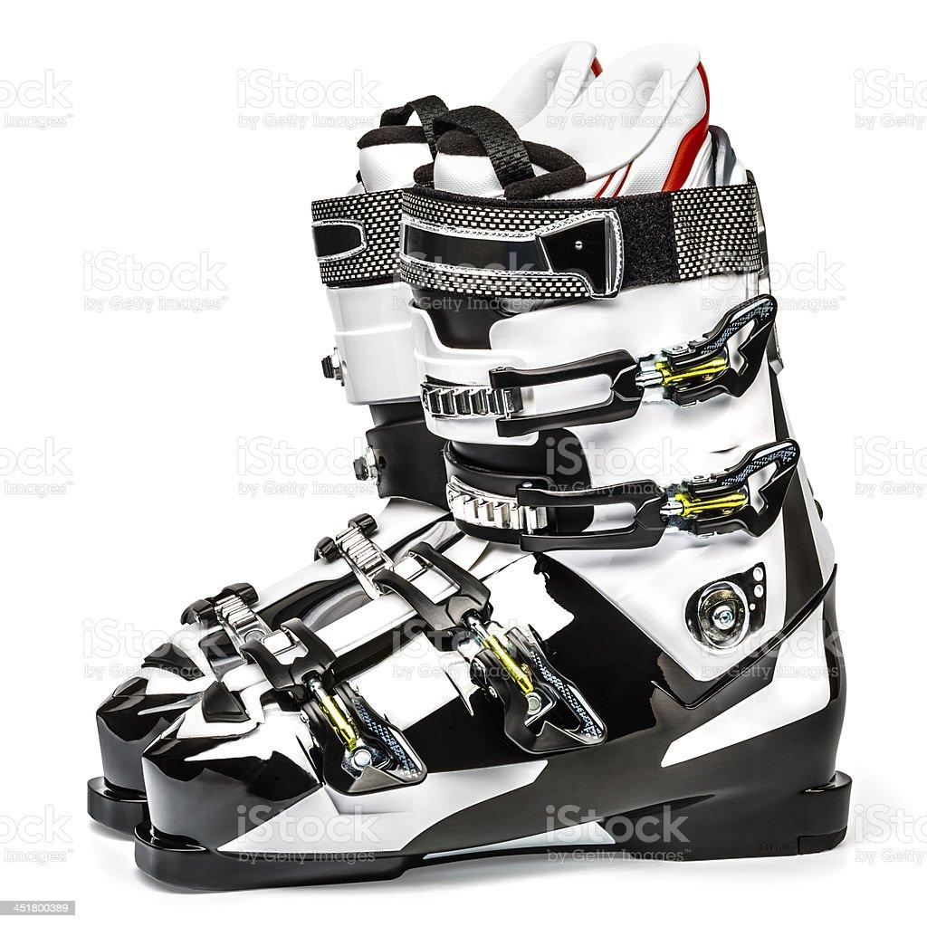 Ski boots, isolated on white background stock photo