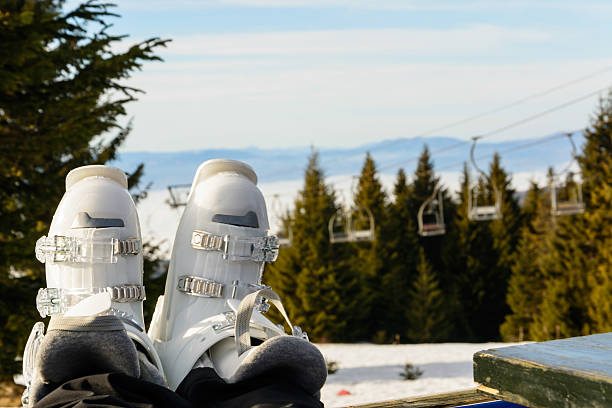 Ski boots stock photo