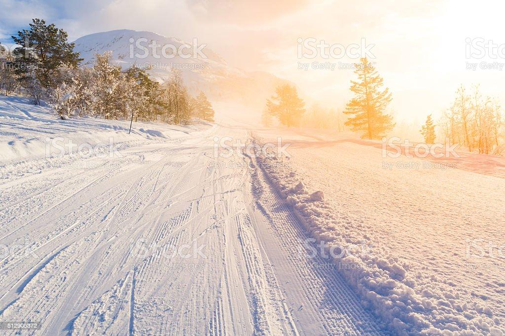 ski centre stryn at sunrise, norway stock photo