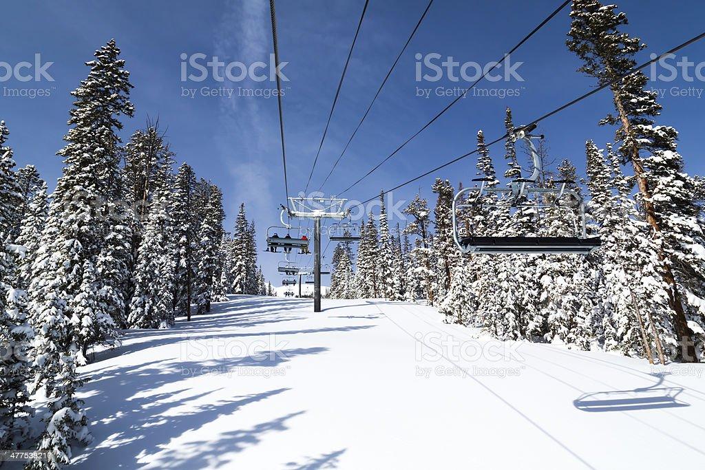 Ski Chair Lift at Breckenridge ski resort, Colorado stock photo