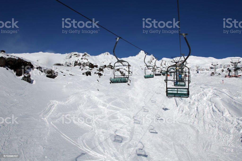 Ski Chair Lift Snow Mount Ruapehu New Zealand stock photo
