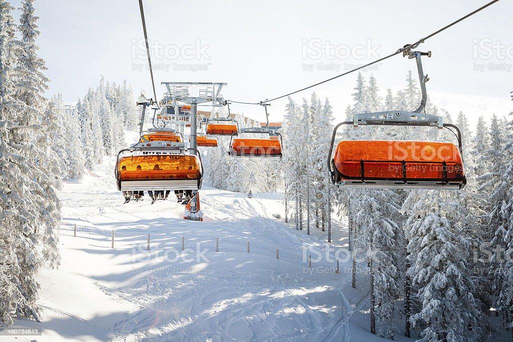 Attractive Ski Chair Lift Stock Photo