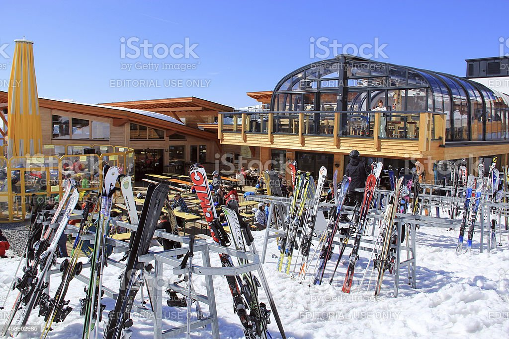 Ski equipment outside the restaurant royalty-free stock photo