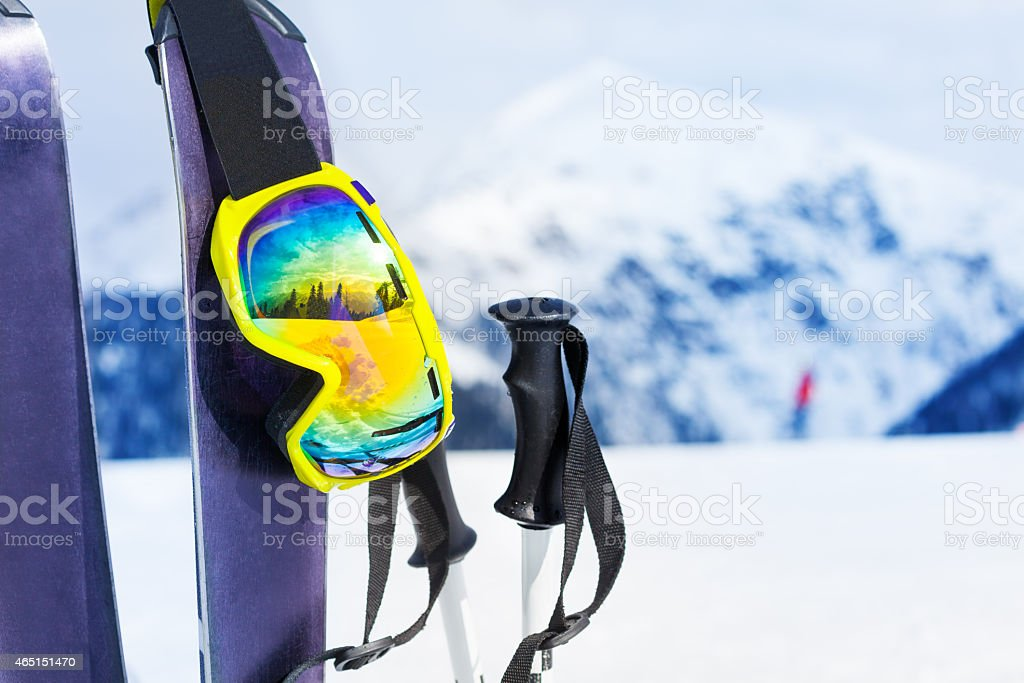 Ski equipment with skies mask and polles stock photo