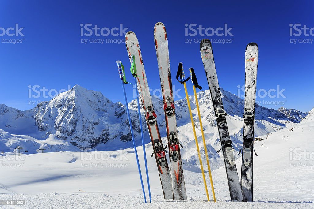 Ski equipments on snow stock photo