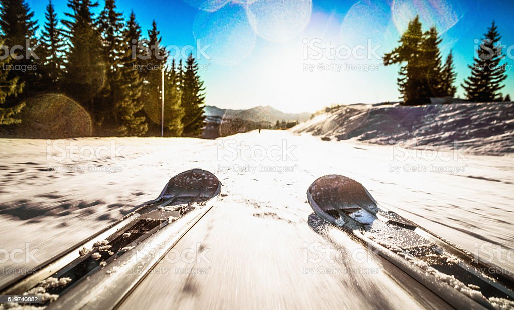 Ski Freedom - skiing point of view stock photo