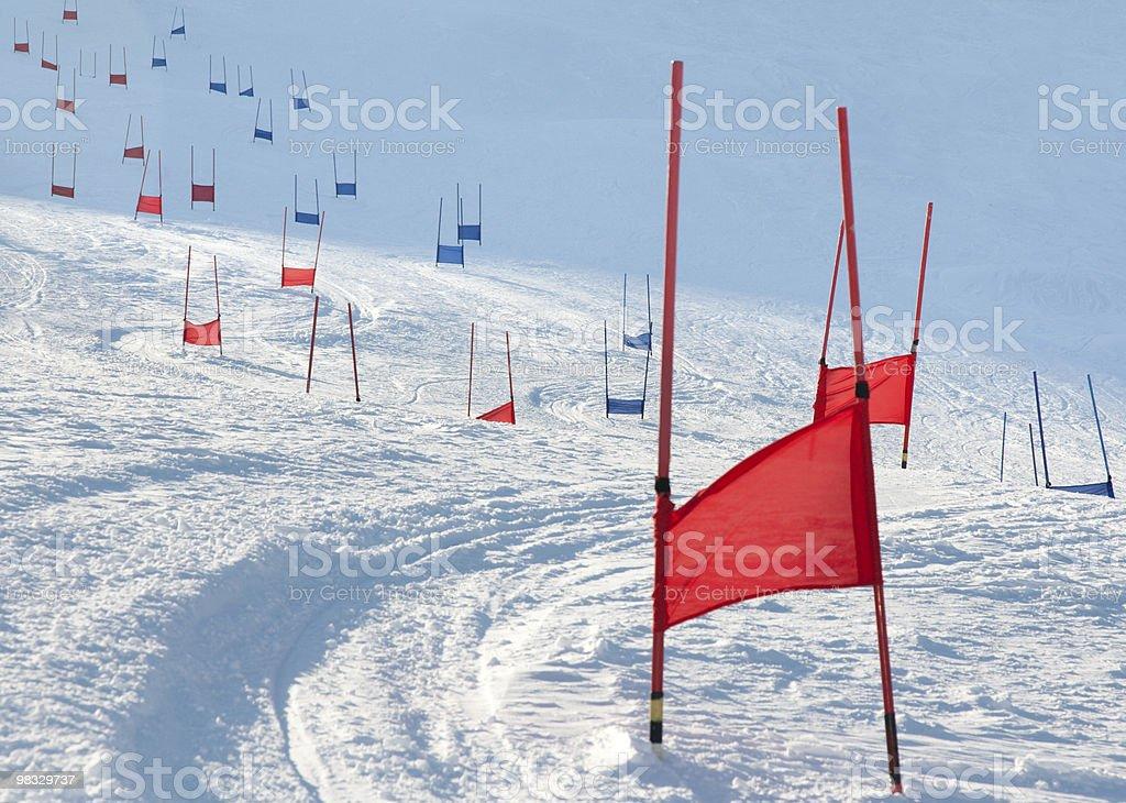 Ski gates with parallel slalom stock photo
