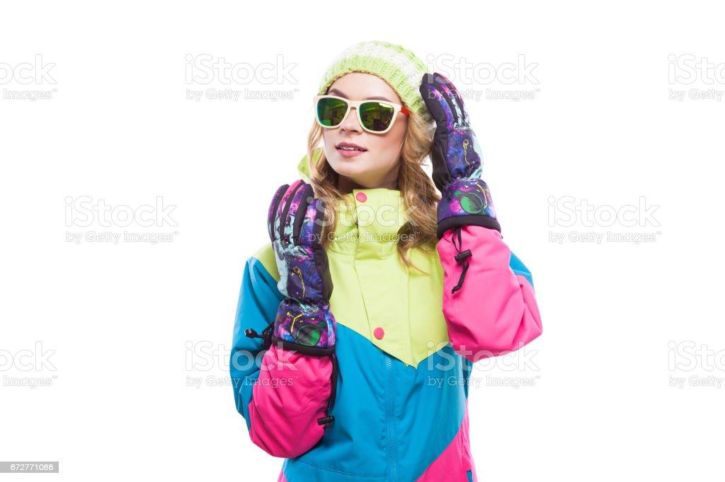 ski girl in sunglasses stock photo