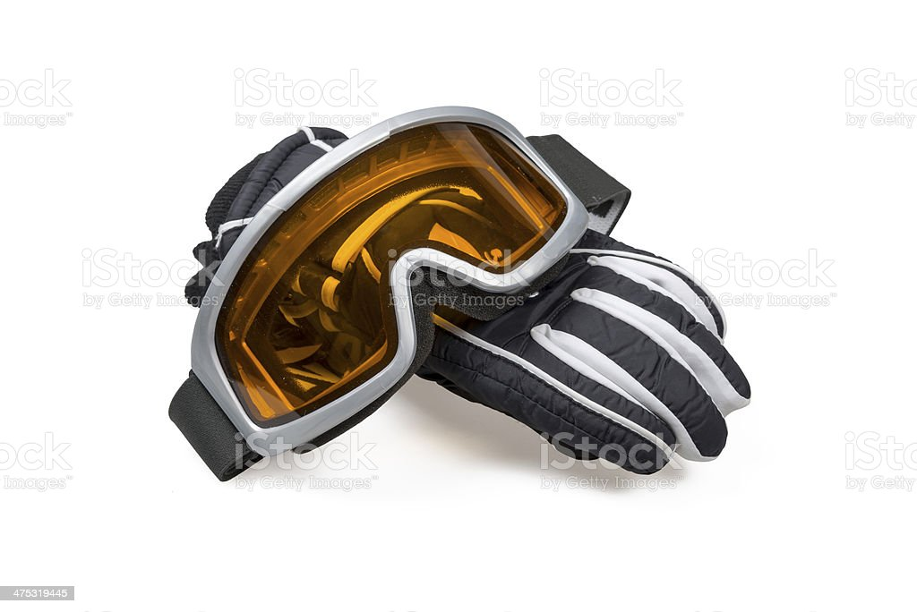 Ski gloves with goggles stock photo