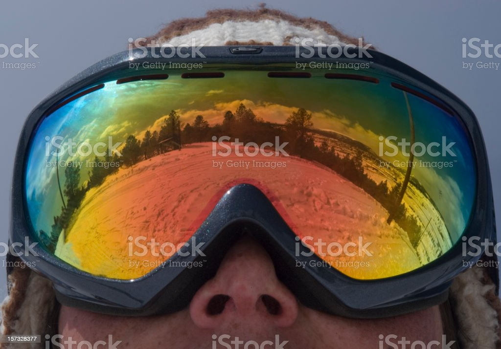 Ski Goggle Reflection stock photo