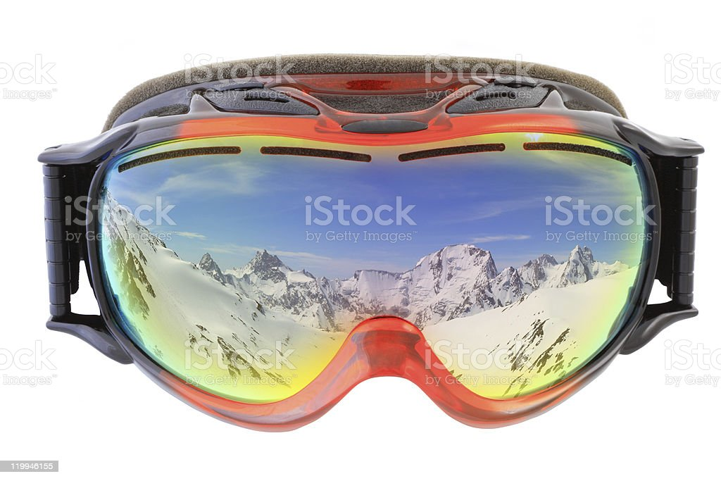 ski goggles on white stock photo