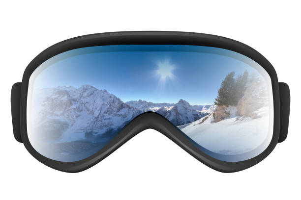 Ski goggles with reflection of mountains Ski goggles with reflection of mountains isolated on the white background. Realistic 3D illustration. ski goggles stock pictures, royalty-free photos & images