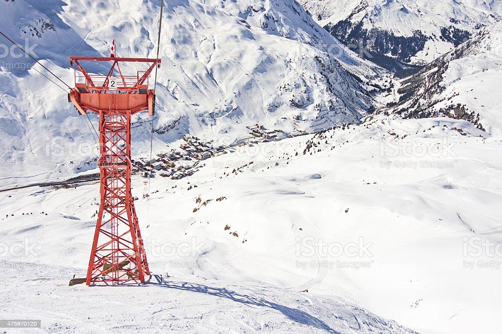 Ski gondola pylon in Lech - Zurs resort, Austria stock photo