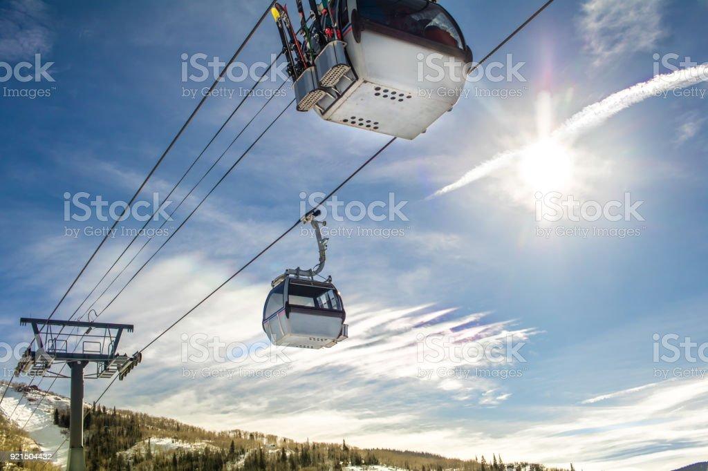 Ski gondolas in winter stock photo