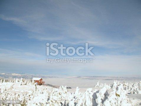 Ski Patrol hut atop Mission Ridge ski resort, with Columbia River valley below. Wenatchee, WA