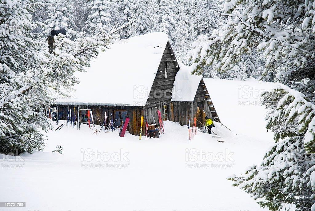 Ski hut under snow royalty-free stock photo