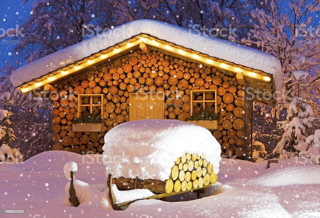 ski hut winter christmas stock photo