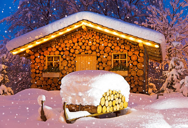 ski hut winter christmas stock photo