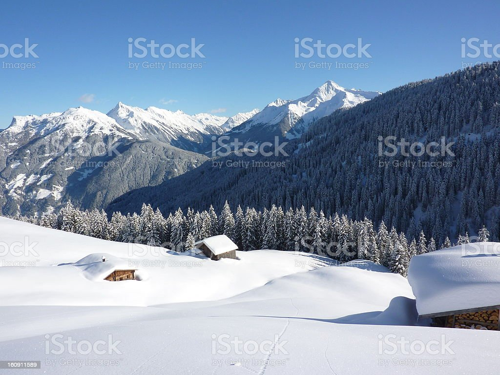 Ski Huts in the ski-area stock photo