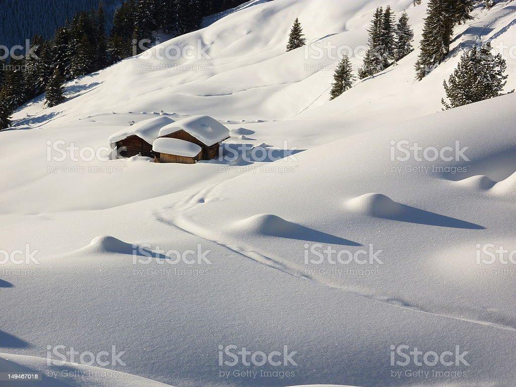 Ski-Hütten im Schnee – Foto