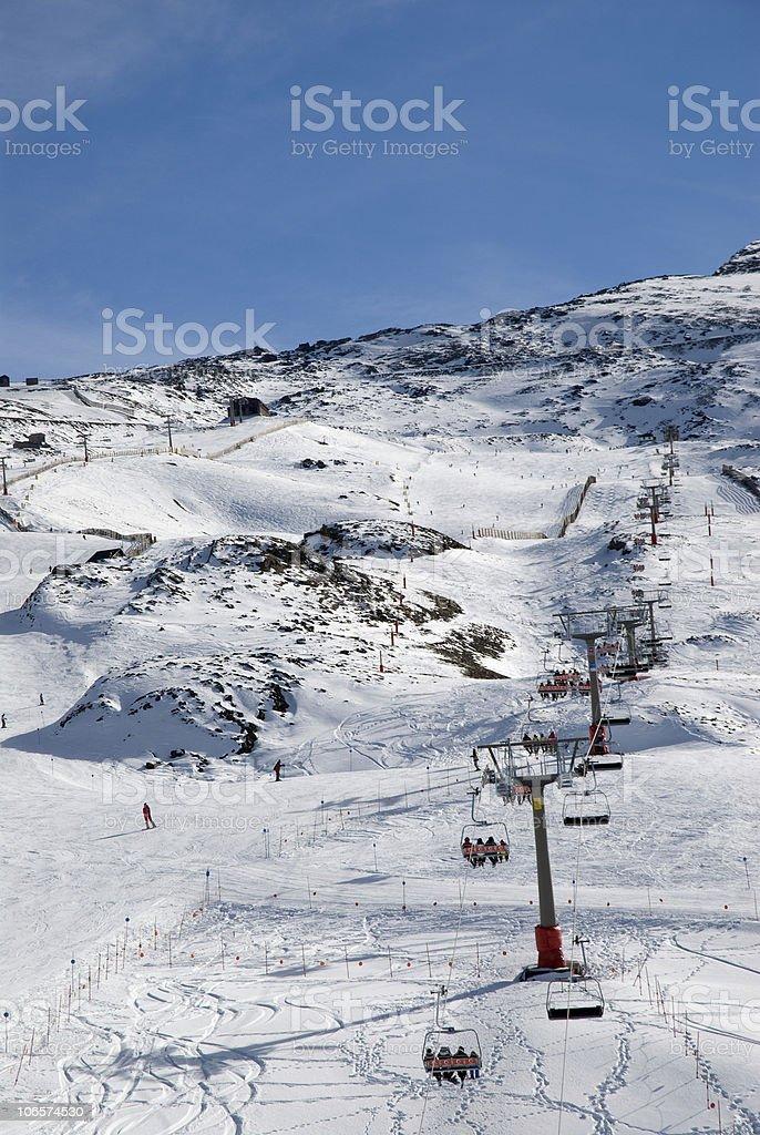 Ski in the mountain stock photo