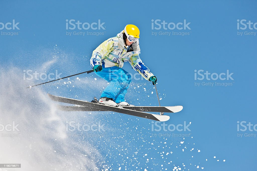 Ski Jump Against Bright Blue Sky royalty-free stock photo