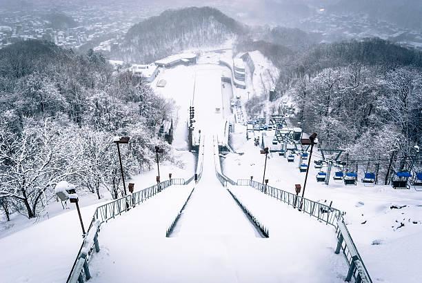 ski jump at okurayama, japan - sapporo stock photos and pictures
