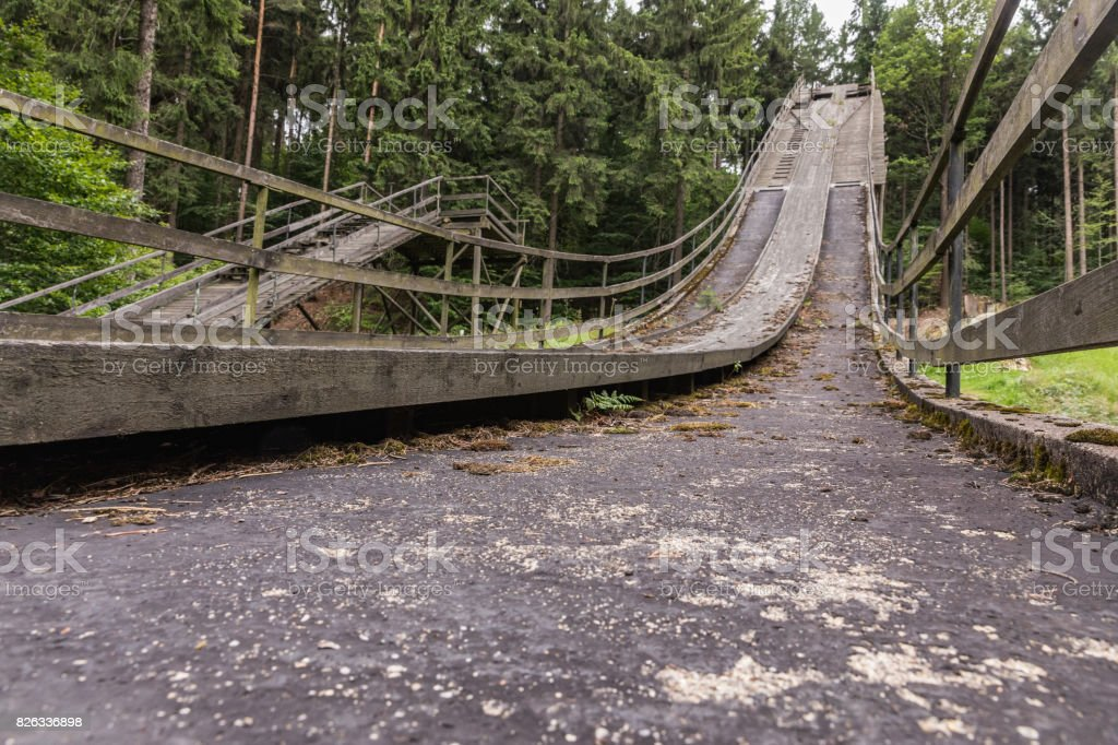 Ski jump in Oybin, Germany. First ski jumping hill in Germany stock photo