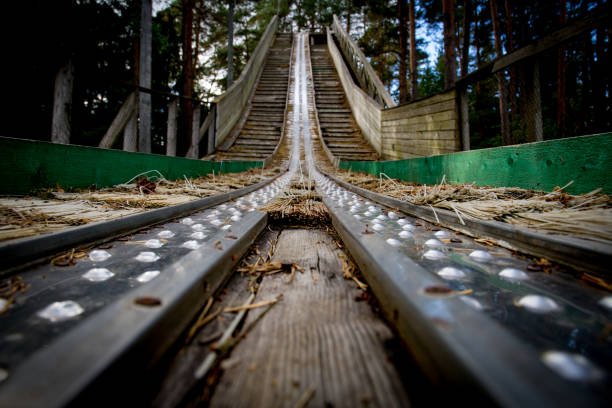 Ski jump platform stock photo