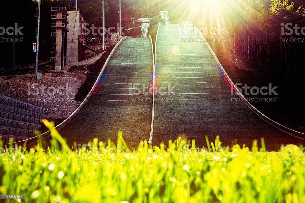 Ski jump ramp stock photo