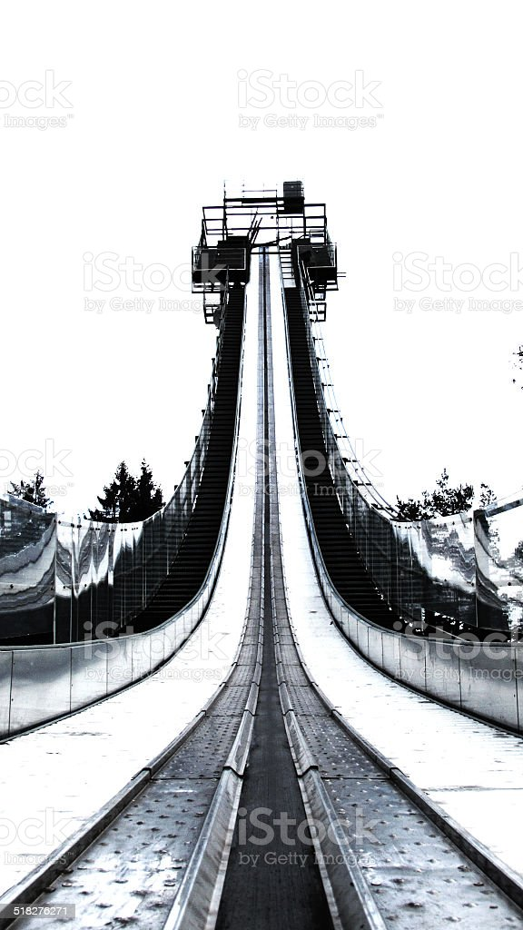 Ski jump run stock photo