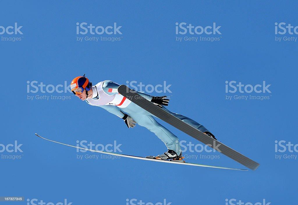 Ski jumper flying royalty-free stock photo