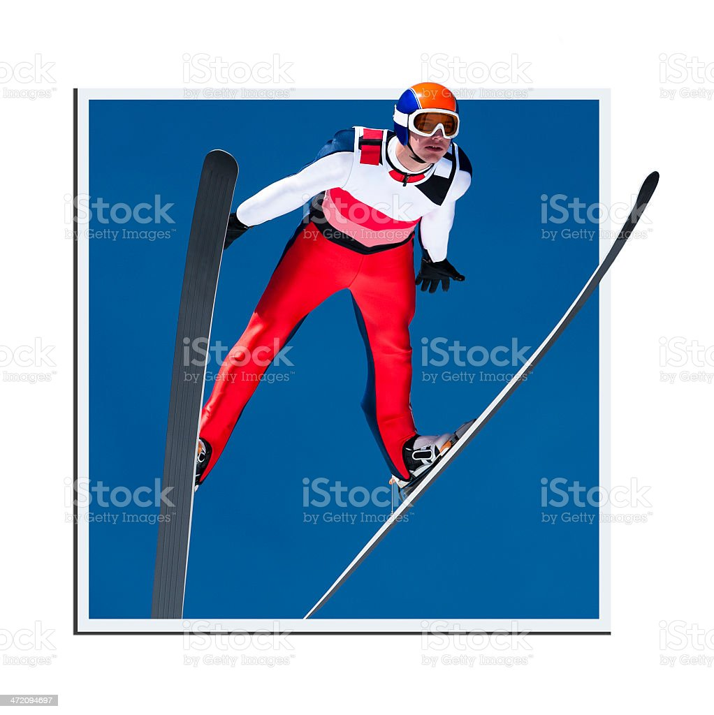 Ski jumper in mid-air, framed photo creating 3D look stock photo