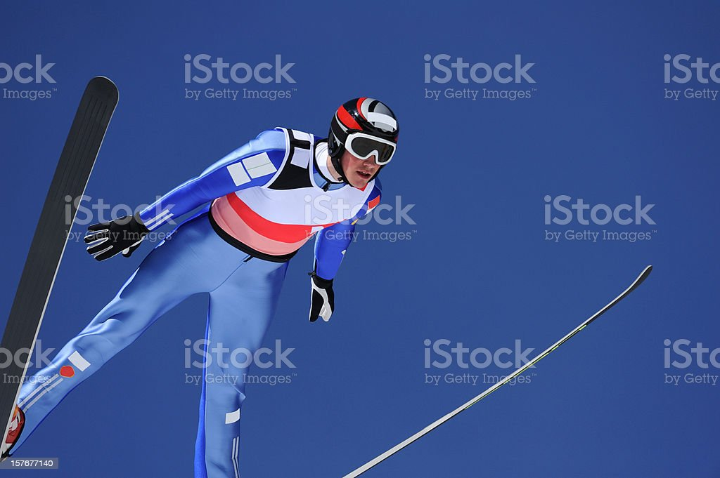 Ski jumper portrait stock photo