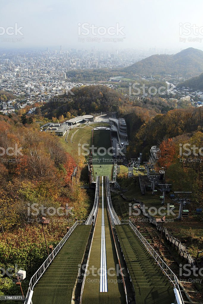 Ski jumping stock photo