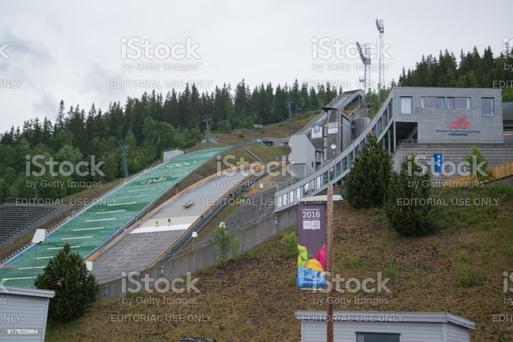 Ski Jumping Springboard in Lillehammer, Norway stock photo