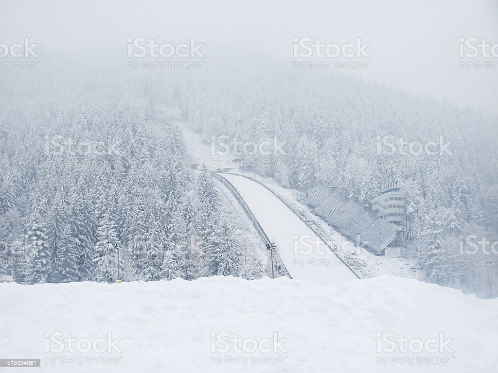 Ski jumping tower and arena in Poland stock photo