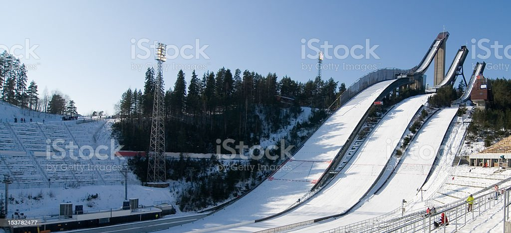 Ski jumping towers and arena in Lahti, Finland stock photo