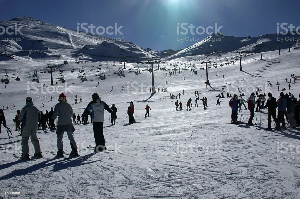 Ski learning. Aprendiendo a esquiar. (Sierra Nevada) stock photo
