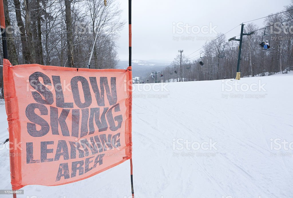 Ski Learning Caution Sign royalty-free stock photo