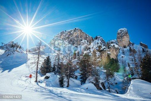 istock Ski lift and ski slope in Val Di Fassa in Dolomites, Italy 1252021422