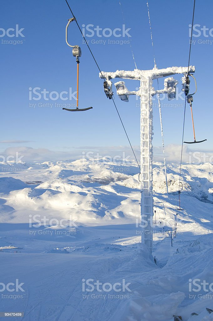 ski lift at hemsedal resort in norway royalty-free stock photo