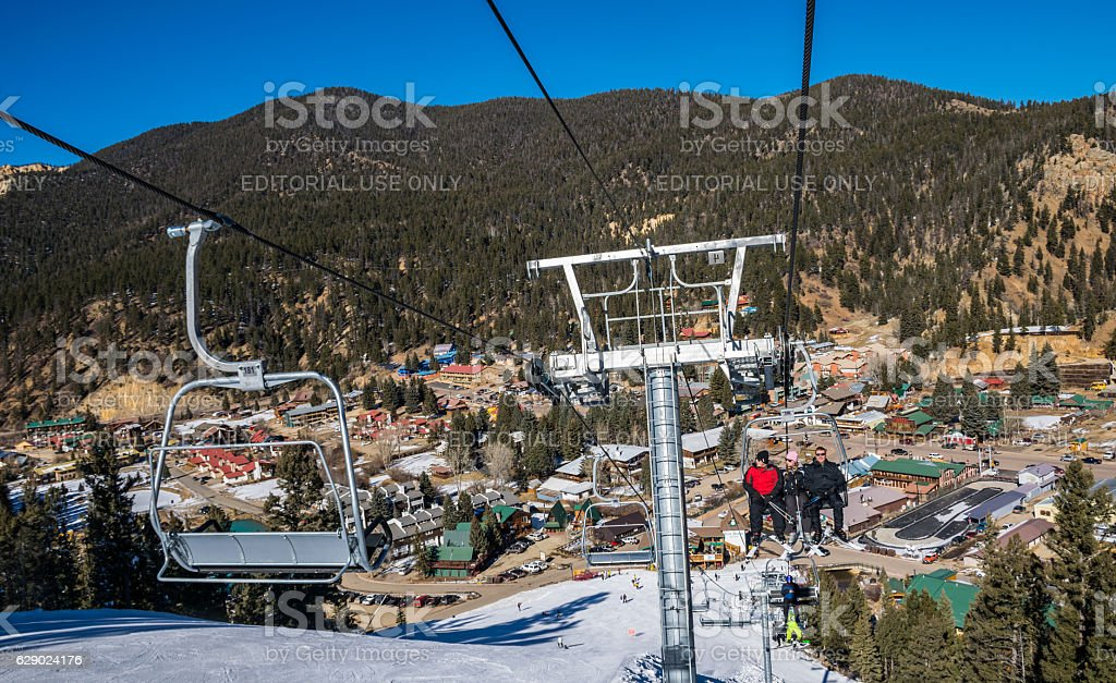 Ski Lift at Red River Winter Blue Bird Day stock photo