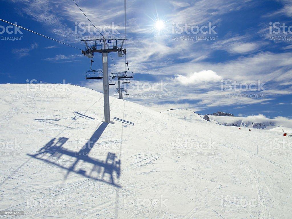 Ski lift chairs royalty-free stock photo