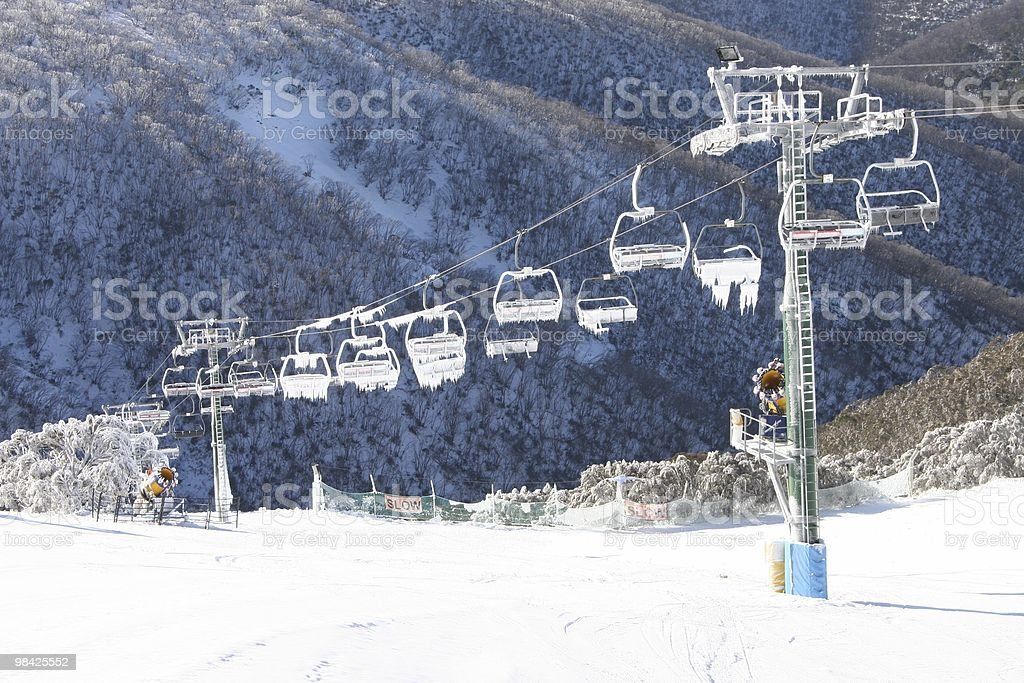 Ski lift down the mountain royalty-free stock photo